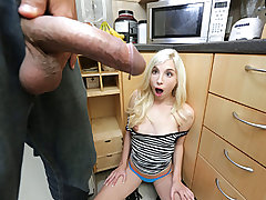 Teeny Weenie Blonde Meets Huge Cock